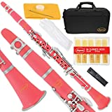 150-PK-L - PINK/SILVER Keys Bb B flat Clarinet Lazarro+11 Reeds,Case,Care Kit~24 COLORS Available,CLICK on LISTING to SEE All Colors