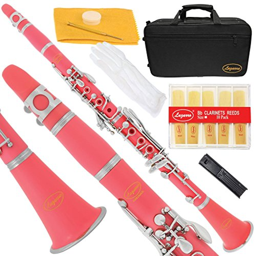 Lazarro 150-PK-L B-Flat Bb Clarinet Pink-Silver Keys with Case, 11 Reeds, Care Kit and Many Extras ()