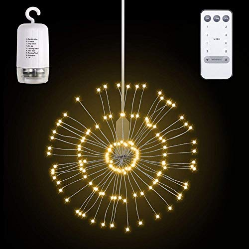 LED Firework Light,8 Modes &150 LEDs Dimmable Remote Control Hanging Starburst Fairy Twinkle Light Battery Operated Waterproof Copper Wire Decorative Light for Garden, Wedding, Party - Warm White