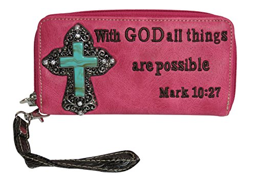 Rhinestone Cross Mark 10:27 Double Zip Around Accordian Wallet Billfold Accessories (Ten Ladies Zip Around Wallet)