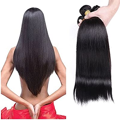 Pamina Hair Unprocessed Virgin Brazilian Silky Straight Human Hair Weave Extensions 3 Bundles Set 100 G/Piece Mixed Length Soft Weft