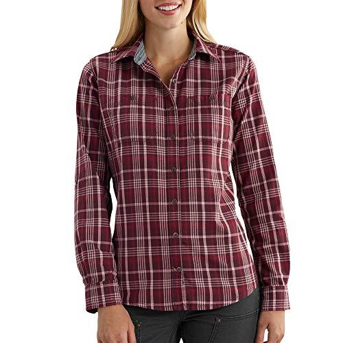 Carhartt Women's Dodson Button Front Plaid Shirt, Deep Wine, Large ()