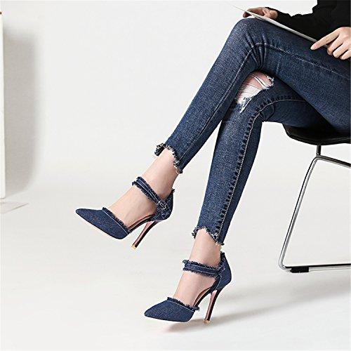 oscuro tacón mujer puntiaguda con 100FIXEO Zapatos puntera sexy para alto y Azul de BxXExHwq7