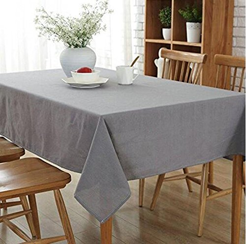 (Eazyhurry Cotton Linen Rectangle Tablecloth Desk Cover Table Cover for Home Decoration Solid Candy Color Table Cloth for Dinner Washable Gray 55