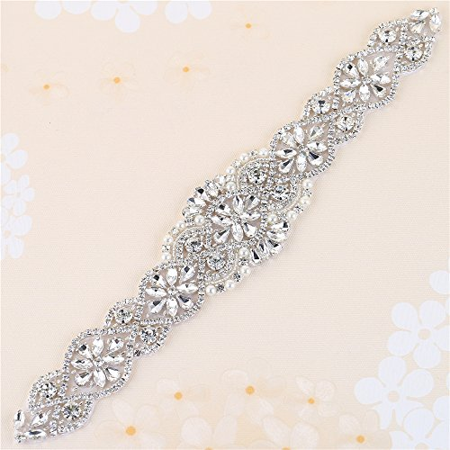 XINFANGXIU Sew Iron on Rhinestone Bridal Wedding Sash Crystal Belt Applique Antique Vintage Sparkly Bridesmaid Gown Womens Prom Formal Clothes Embellishments -