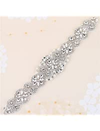 Crystal sashes for wedding, Wedding Bridal Belt, Braided Rhinestone Sash, Women Formal Dress Belts - Silver