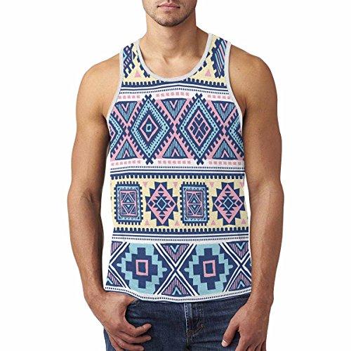 InterestPrint Pattern Tribal Ethnic Aztec Men's Tank Tops T-Shirt Gym Workout (Art Print Tank Top)