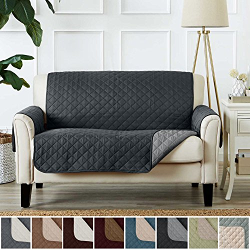 Deluxe Reversible Quilted Furniture Protector and PET PROTECTOR. Two Fresh Looks in One. Perfect for Families with Pets and Kids. By Home Fashion Designs Brand. (Love Seat, Light Grey / Dark Grey) (2 Furniture Price 1)