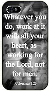 For Ipod Touch 5 Case Cover Bible Verse - Whatever you do, work at it with your heart, as working for the Lord, not for men. Colossians 3:23 - black plastic case / Verses, Inspirational and Motivational