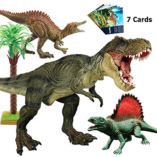 Tyrannosaurus Rex, BooTaa Large T Rex Dinosaur Toys,Jurassic World with Realistic Design, Action Figures for Gift,Boys, Game,Party,Toddler, 3/4/5/6 Years Old Kids, Playset, Inlcuded 7pcs Dinosaur Card by BooTaa