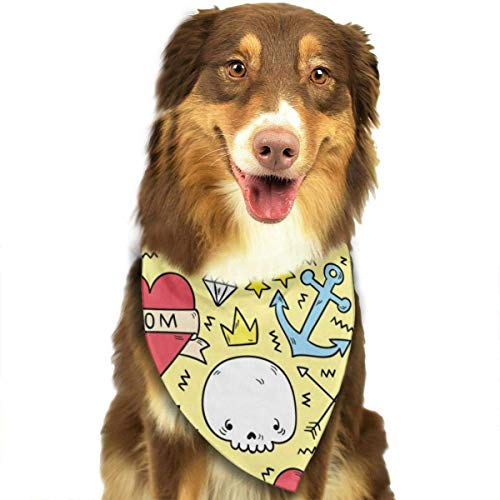 - Pedgssories Dog Bandana Colorful Tattoo Pattern Scarves Accessories Decoration for Pet Cats and Puppies