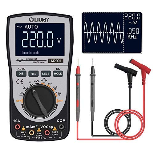 Oscilloscope Multimeter 2.0 Update,LIUMY Professional LED Oscilloscope Multimeter with 200ksps A/D Automatic Waveform Capture Function,DC/AC Voltage/Current Test,HD Color Display with Backlight -