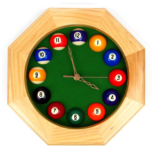 Trademark Octagonal Wood Billiards Quartz Wall Clock ()