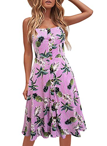 Berydress Women's Casual Beach Summer Dresses Solid Cotton Flattering A-Line Spaghetti Strap Button Down Midi Sundress (S, 6046-Pink Floral) ()
