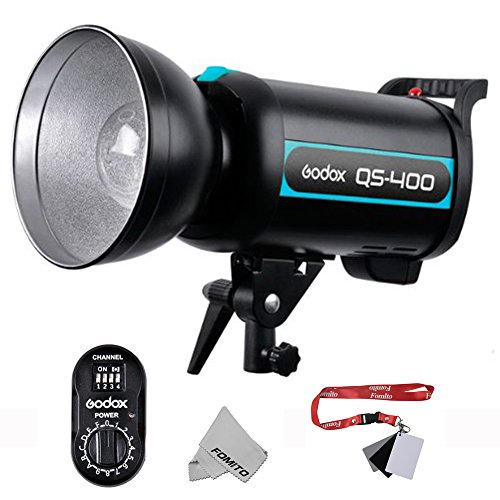 Fomito Godox QS Series Flash QS-400フラッシュ+FTR-16受信器 結婚式・肖像画・ファッション・広告等様々撮影に適用 付属品:GODOX Ftr-16受信機433Mhz Fomito オリジナルのクリーニングクロース グレーカード