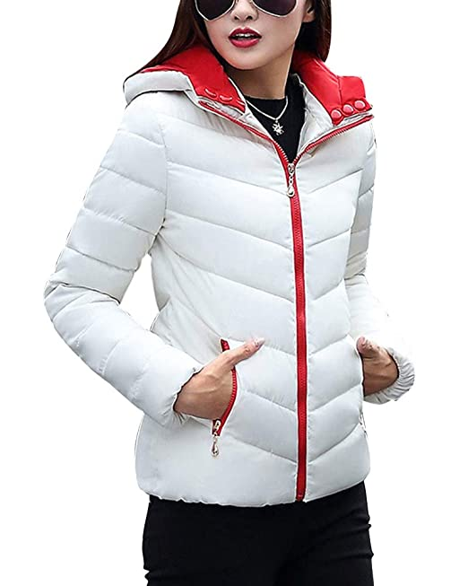 Chaqueta Acolchada para Mujer con Capucha Manga Larga Portátil Ultra Ligera Blanco M