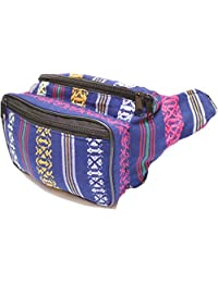 SoJourner Bags Tribal Bohemian Hippy Woven, Fabric Fanny Pack (Royal Navy)