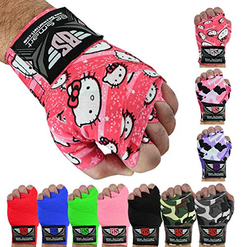 BeSmart Mexican Style Hand Wraps for Boxing Gloves 180″ 137″ 99″ Elastic Boxing Wrap Hand Wrist Support for Muay Thai Kickboxing Gym Workout MMA Men and Women- 1 Pair