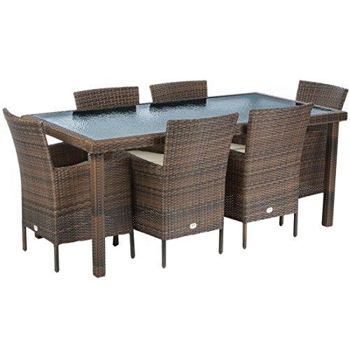 Ultranatura Poly-Rattan Gartenmöbelset Palma-Serie 7-teilig / Tisch + 6 Stühle inklusiv Auflagen