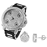 5 Time Zone Watch Earrings Gift Set Lab Diamonds Bullet Band 9mm Studs Screw Back