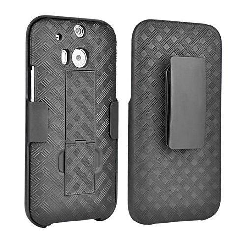 Arden® HTC ONE M8 Shell Holster Combo Case with Kickstand & Belt Clip [2 Year Warranty] (Black) (Htc One M8 Otter Box Clip)