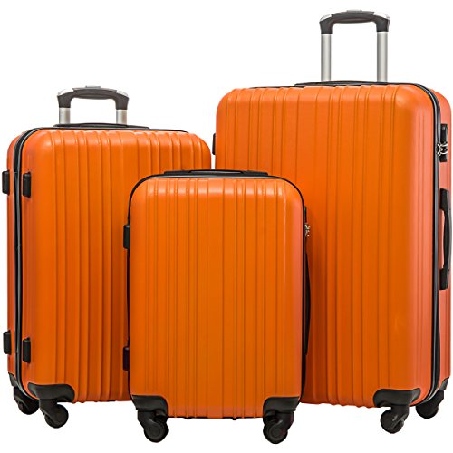 Merax Hylas 3 Piece Luggage Set Lightweight Spinner Suitcase(Orange) by Merax