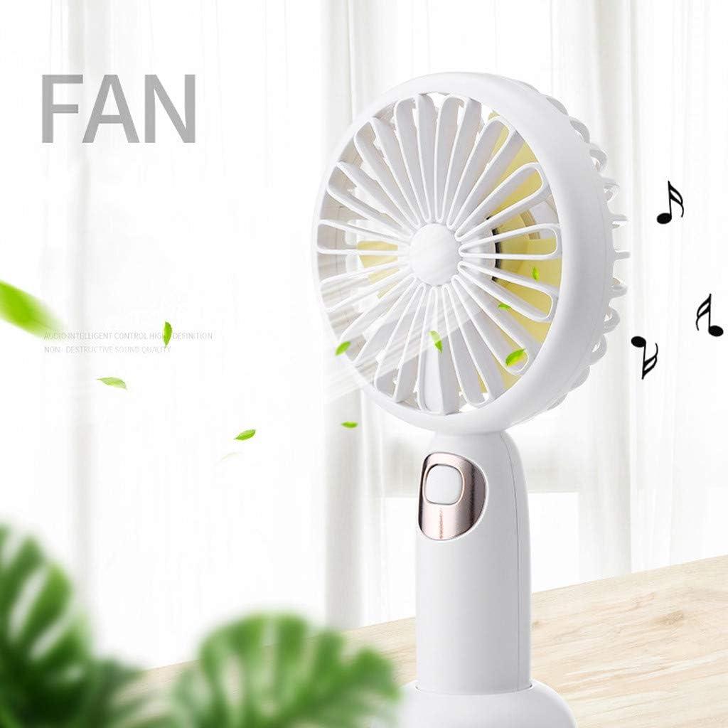 RDTIAN Handheld Mini USB Rechargeable Fan Built-in Battery Portable Bluetooth Speaker Pink