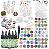 5 Pieces 30ML Crystal Epoxy Resin UV Glue,72 Decoration with Lamp and Tweezer,13Pcs Transparant Silicone Mould 100 Pieces Rings Metal Accessories For Handcraft Jewelry Earrings Necklace Bracelet