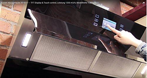 Kaiser at 9317 la perla exclusiva Negra Campana 90 cm kopffrei/muy Tark 1200 M3/H/TFT pantalla/kopffreihaube con Negro Cristal Frontal/pared Campana/ Campana/5 niveles Touch Control Control/Apertura Eléctrica/Borde aspiración/ Campana Canalizado ...