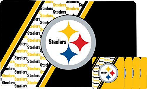 PITTSBURGH STEELERS PLACEMAT AND COASTER SET (Steelers Coaster Set Pittsburgh)