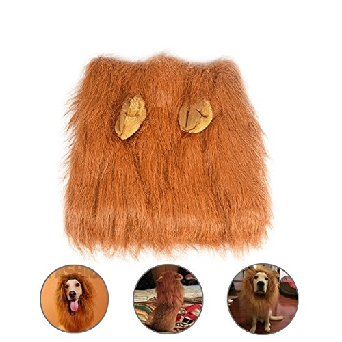 Theeb Lion Mane For Medium to Large Sized Dogs With Ears Plus FREE Lion Tail - SIMBA Lion King Mane For Dogs - Light Brown King of The Jungle Dog Wig For Your Best Friend - Dogs Party Costume by THEEB (Image #3)
