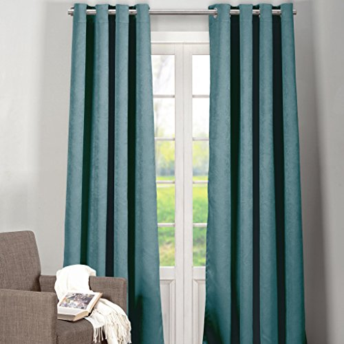 Heavy Solid Faux Silk Insulated Energy Saving Blackout Window Grommet Top Curtain 54 inch Wide b ...