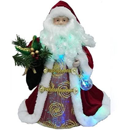 holiday time 12 redgold santa christmas tree topper with led