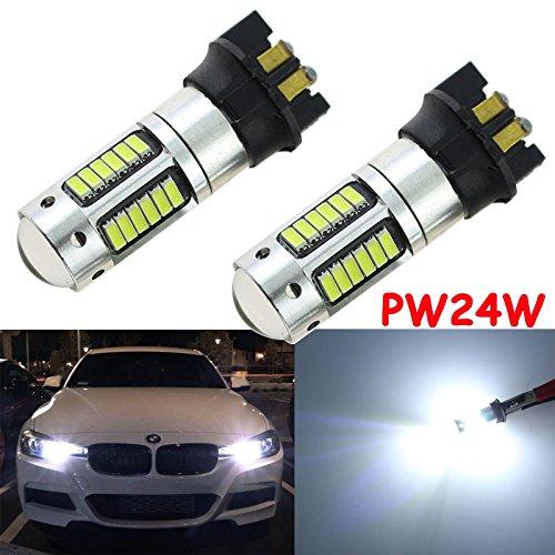 Xotic Tech 2x Super Bright Error Free Xenon White PW24W 30-SMD LED Bulbs DRL Daytime Running Lights