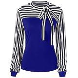 Women Blouse Long Sleeve Color Block Splice Stripe Bowknot Bandage Tunic Tops Shirt (L, Blue)