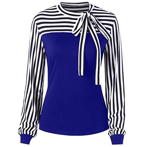 Realdo Women Casual Tie-Bow Neck Striped Long Sleeve Splicing Shirt Blouse Dark ()