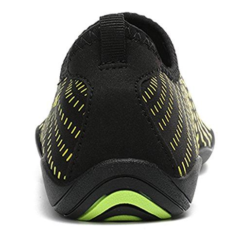 SUNAVY Unisex Barfuß Wasser Leinwand Schuhe für Strand Swim Surf Yoga Fitness (EU 34—EU 44) Grün