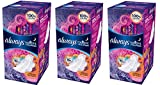 Always Radiant Overnight Pads with Wings, Scented, 22 Count, 3-pack