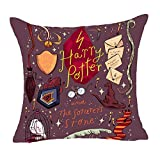 1 Piece 18 x 18 Brown Orange Harry Potter Theme Throw Pillow Cover, Purple Red The Sorcerer's Stone Movie Cushion Case Gryffindor Ravenclaw Hufflepuff Slytherin Hogwarts School Magic Wand, Cotton
