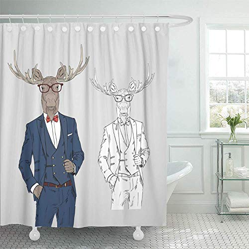 Abaysto Anthropomorphism Moose Dressed Up in Classy Anthropomorphic Animals Attractive Bathroom Decor Shower Curtain Sets with Hooks Polyester Fabric Great Gift ()