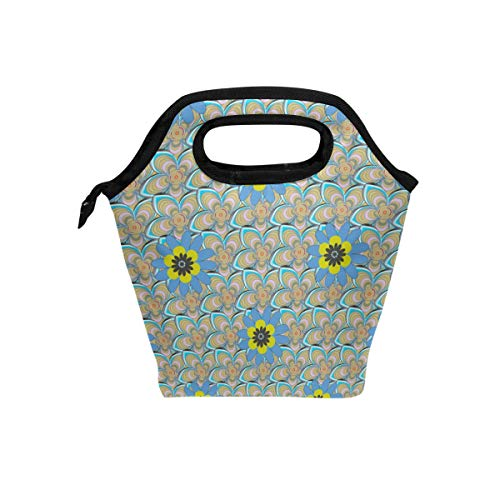Insulated Cooler Lunch Bag Embroidered Floral Print Tote LunchBox Food Containers for Men Women Kids