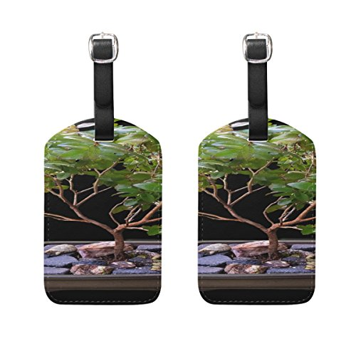 Myrtle Bonsai - Bonsai Myrtle Tree Pattern Pu Leather Id Tags Business Card Holder Labels Baggage Suitcase Luggage Tags Travel Accessories