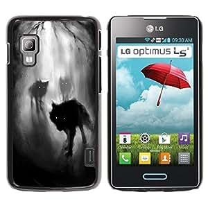 Caucho caso de Shell duro de la cubierta de accesorios de protección BY RAYDREAMMM - LG Optimus L5 II Dual E455 E460 - Fog Night Dark Woods Werewolf