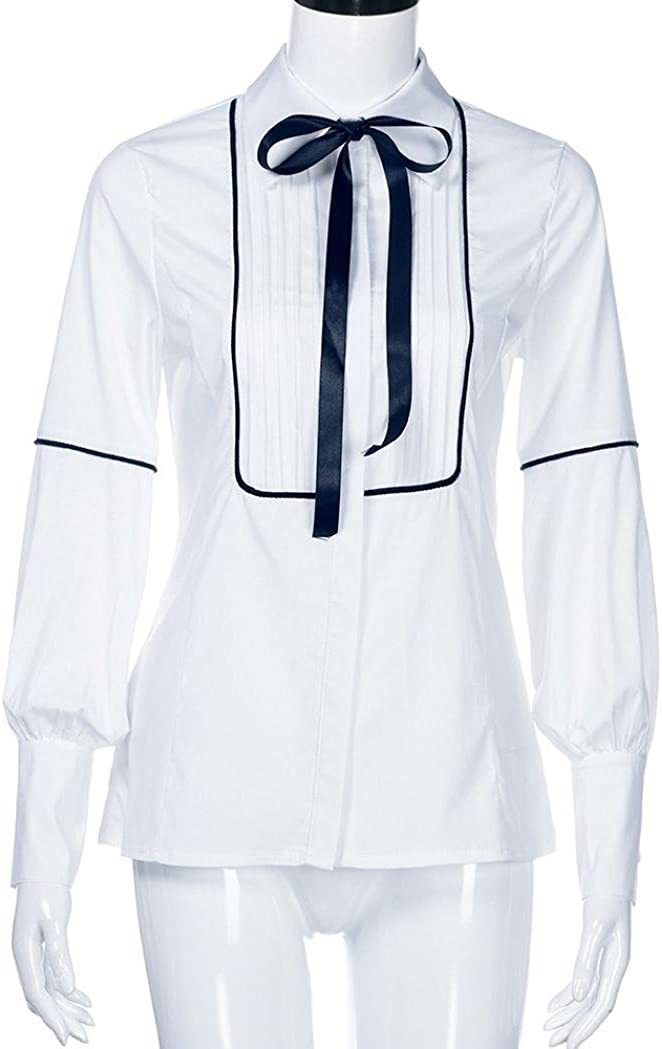Blusas para Mujer Blanca Cintura Blanca DEELIN Camiseta De Trabajo De Manga Larga para Oficina Camiseta De Manga Larga con Cuello En V