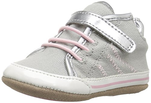 Robeez Girls' Hadley High Top Sneaker, Grey, 6-9 Months M US - Athletic Robeez Shoes