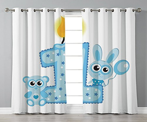 iPrint Stylish Window Curtains,1st Birthday Decorations,Boys Party Theme with a Cake Candle Rabbit and Bear,Baby Blue and Light Blue,2 Panel Set Window Drapes,for Living Room Bedroom Kitchen Cafe
