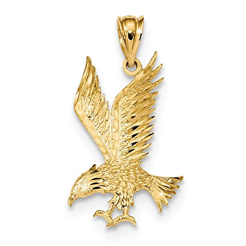 14k Yellow Gold Polished and Diamond-Cut Solid Eagle Charm Pendant ()