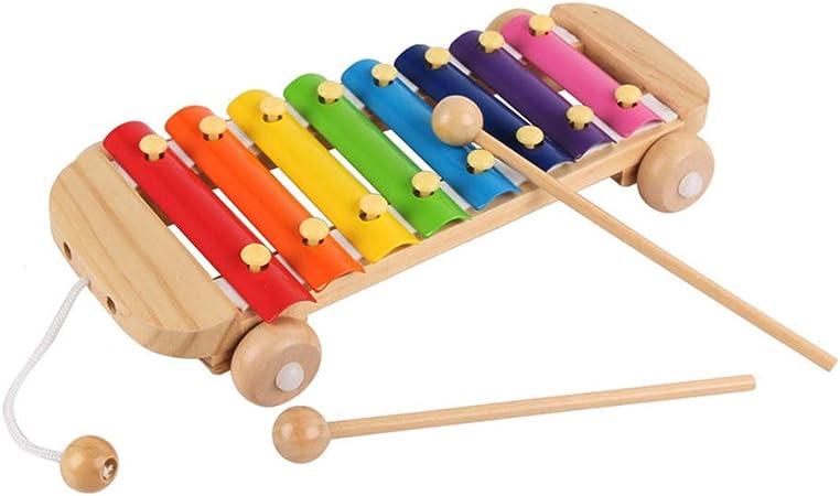 Xilófono de madera para coche para niños, 8 notas, arcoíris ...