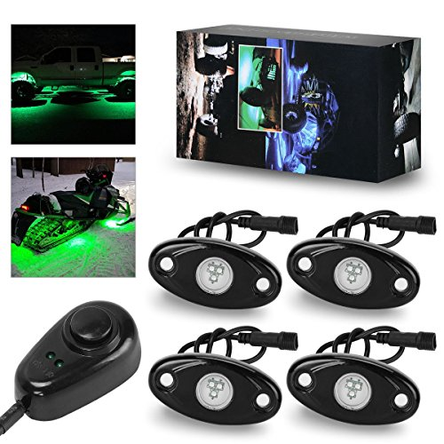 - LED Rock Lights Kit with Dimmer Switch, YITAMOTOR 4 Pods Single Color Rock Lights,Fit for Car Truck ATV UTV Kayak Polaris RZR Offroad Boat (Green)