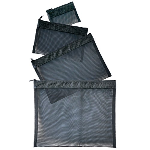 Multi Purpose 4 Piece Mesh Bag Set for Travel, Office Supplies, Cosmetic, Paper, Bill and Credit Card Bag (Solid Black) (Bag Piece 4 Makeup)